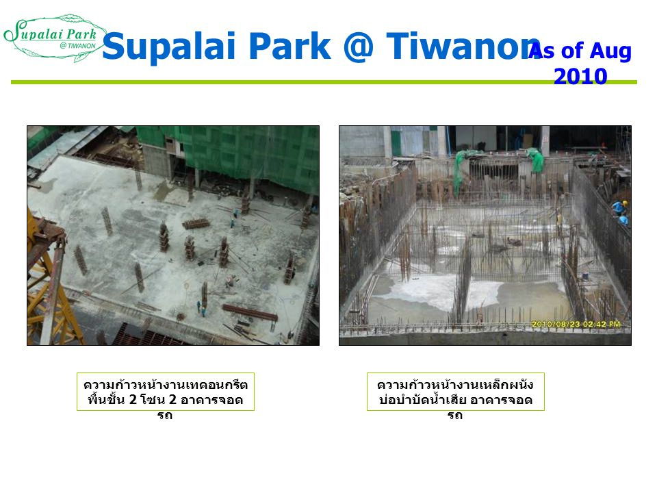 Supalai Park @ Tiwanon As of Aug 2010