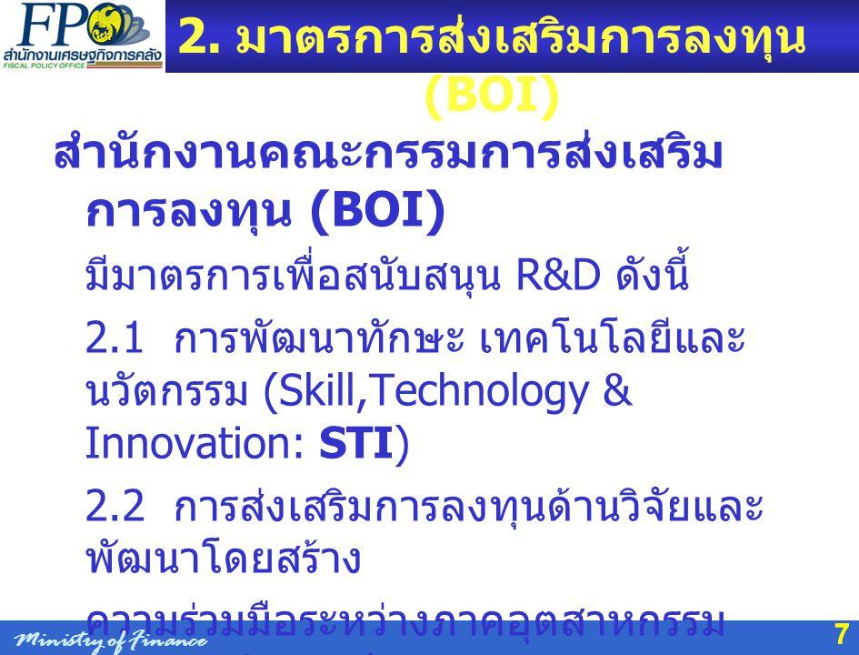 2. มาตรการส่งเสริมการลงทุน (BOI)