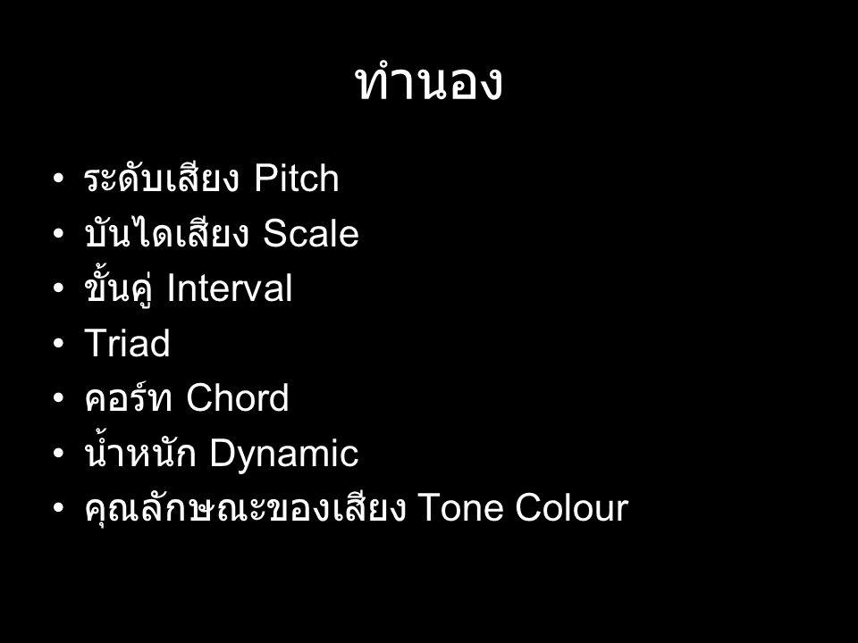 ทำนอง ระดับเสียง Pitch บันไดเสียง Scale ขั้นคู่ Interval Triad