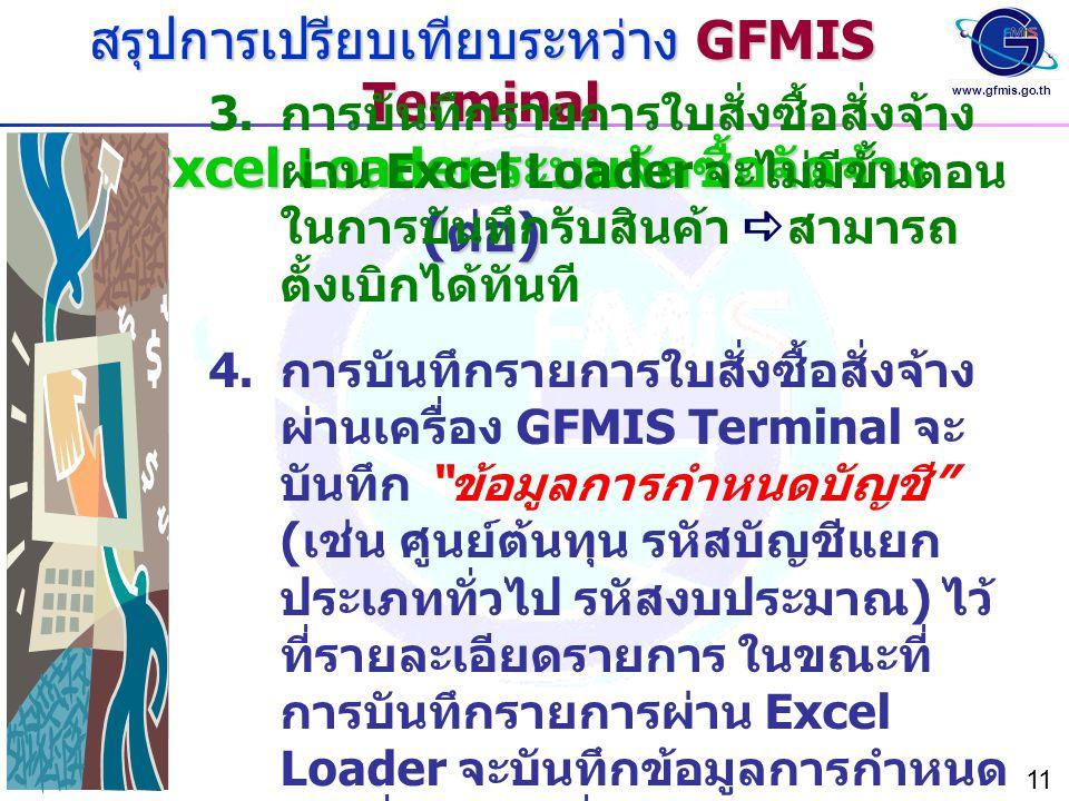 สรุปการเปรียบเทียบระหว่าง GFMIS Terminal และ Excel Loader ระบบจัดซื้อจัดจ้าง (ต่อ)