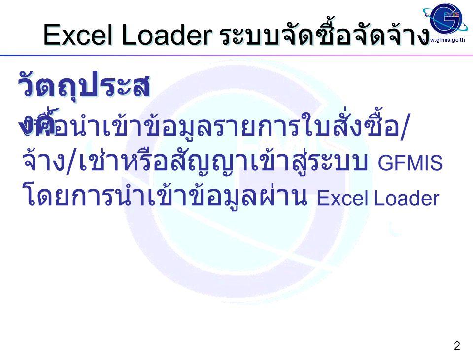 Excel Loader ระบบจัดซื้อจัดจ้าง