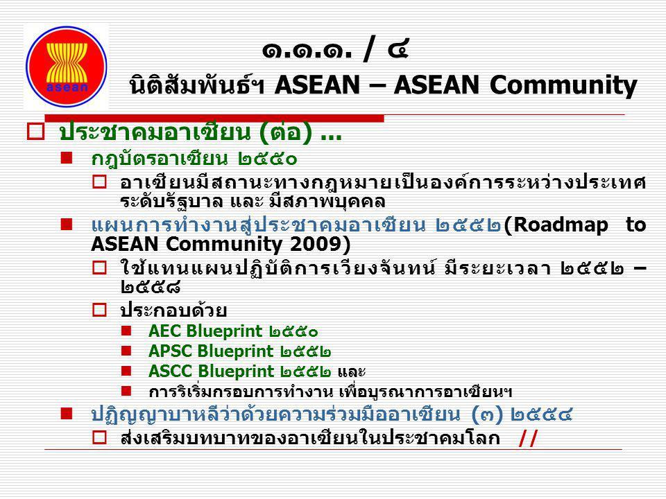 ๑.๑.๑. / ๔ นิติสัมพันธ์ฯ ASEAN – ASEAN Community