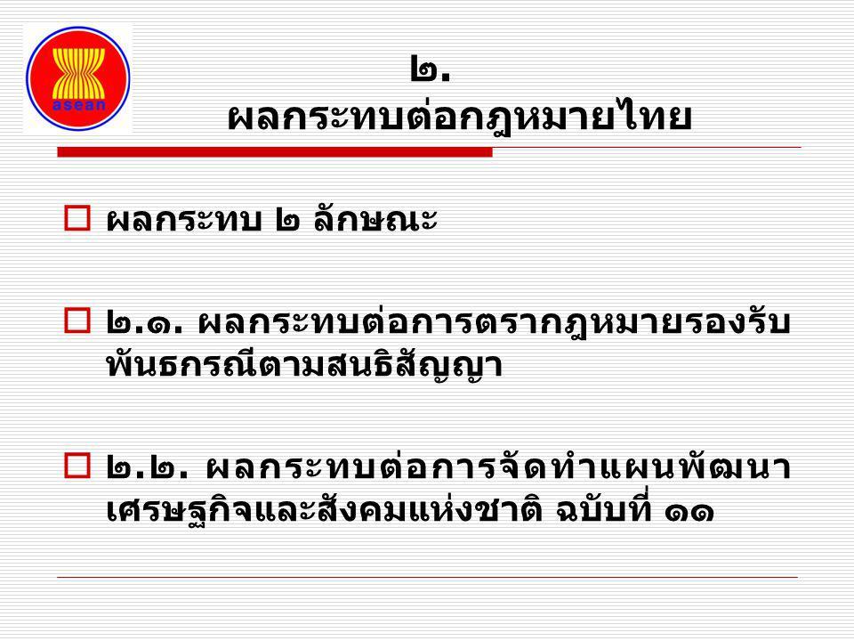 ๒. ผลกระทบต่อกฎหมายไทย ผลกระทบ ๒ ลักษณะ