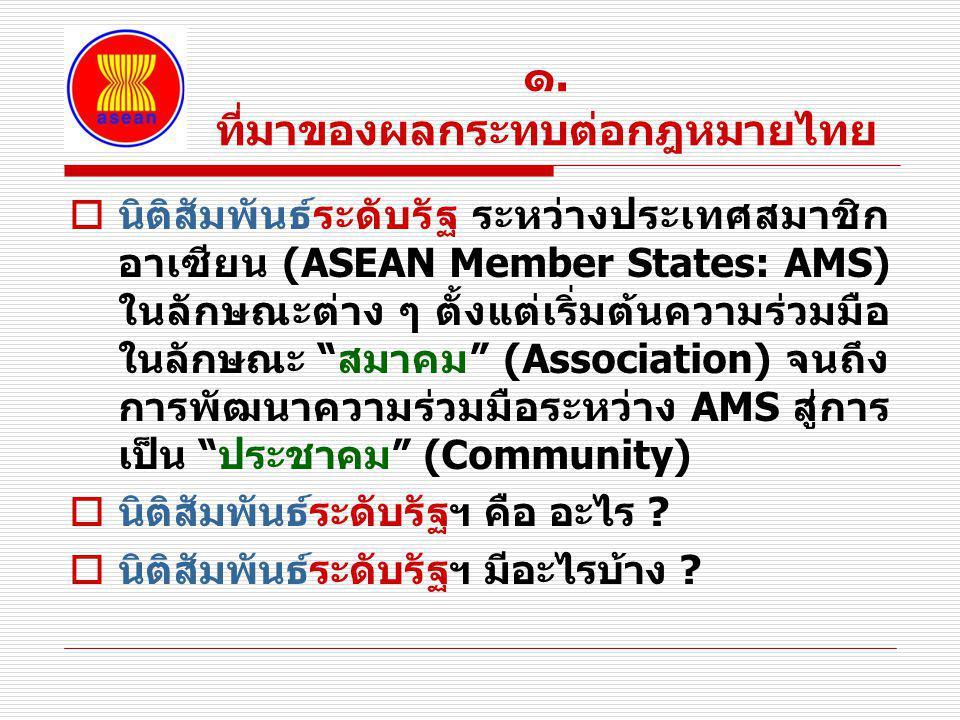 ๑. ที่มาของผลกระทบต่อกฎหมายไทย