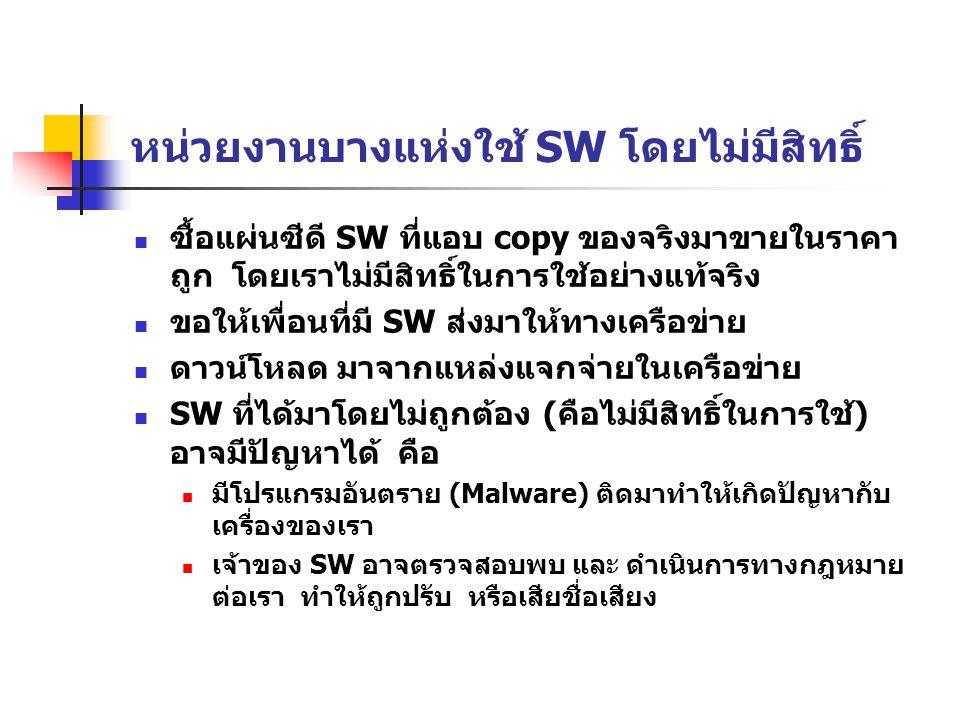 หน่วยงานบางแห่งใช้ SW โดยไม่มีสิทธิ์