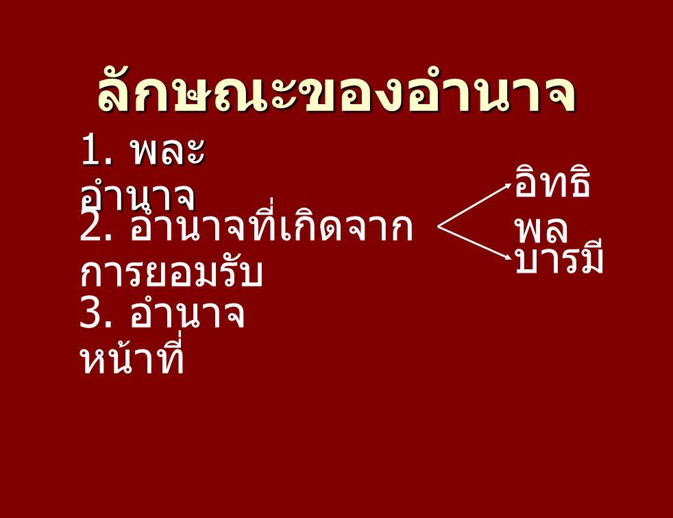 ลักษณะของอำนาจ 1. พละอำนาจ อิทธิพล 2. อำนาจที่เกิดจากการยอมรับ บารมี