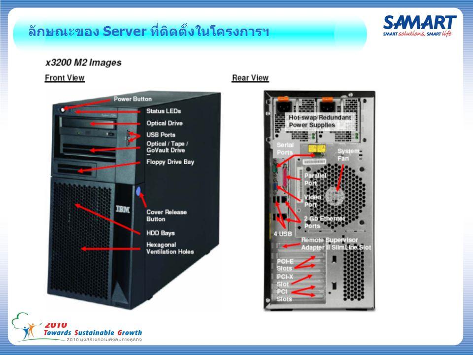 ลักษณะของ Server ที่ติดตั้งในโครงการฯ
