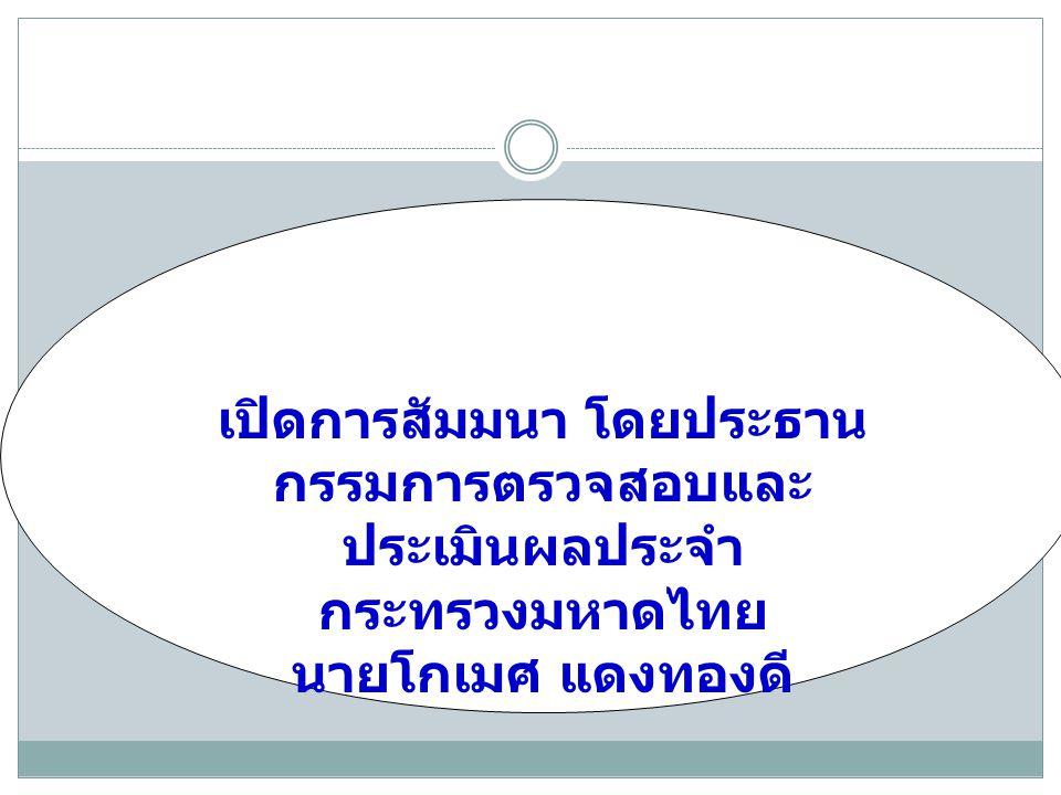 เปิดการสัมมนา โดยประธานกรรมการตรวจสอบและประเมินผลประจำกระทรวงมหาดไทย
