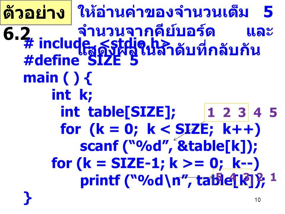 ตัวอย่าง 6.2 ให้อ่านค่าของจำนวนเต็ม 5 จำนวนจากคีย์บอร์ด และแสดงผลในลำดับที่กลับกัน. # include <stdio.h>
