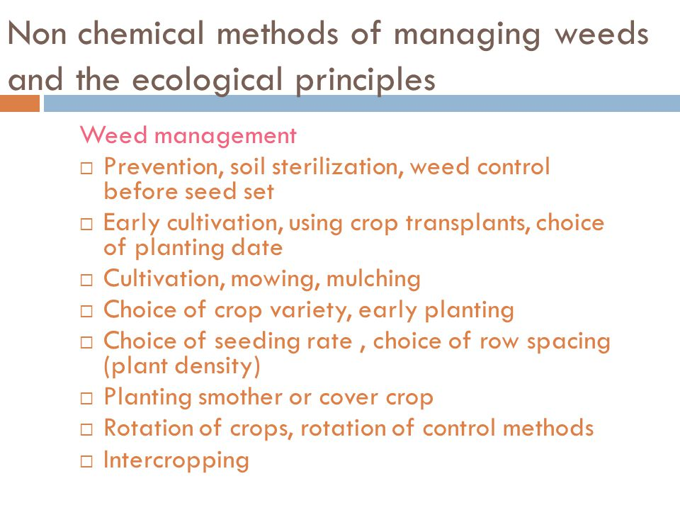 Non chemical methods of managing weeds and the ecological principles