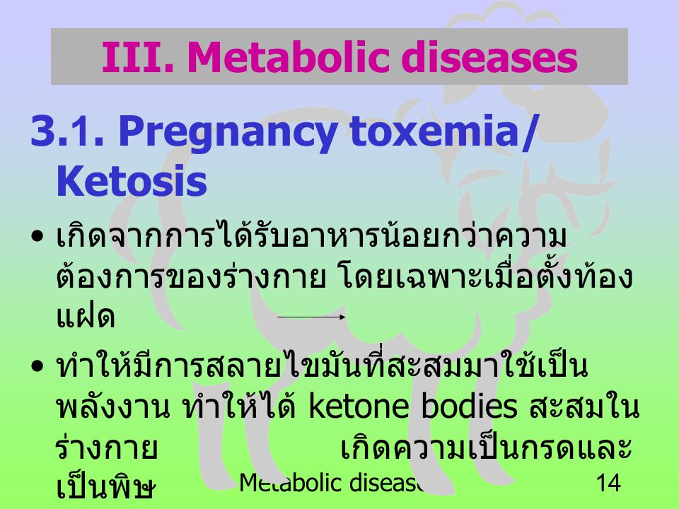 III. Metabolic diseases