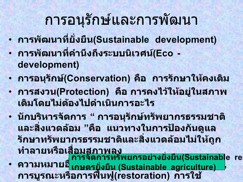 การอนุรักษ์และการพัฒนา