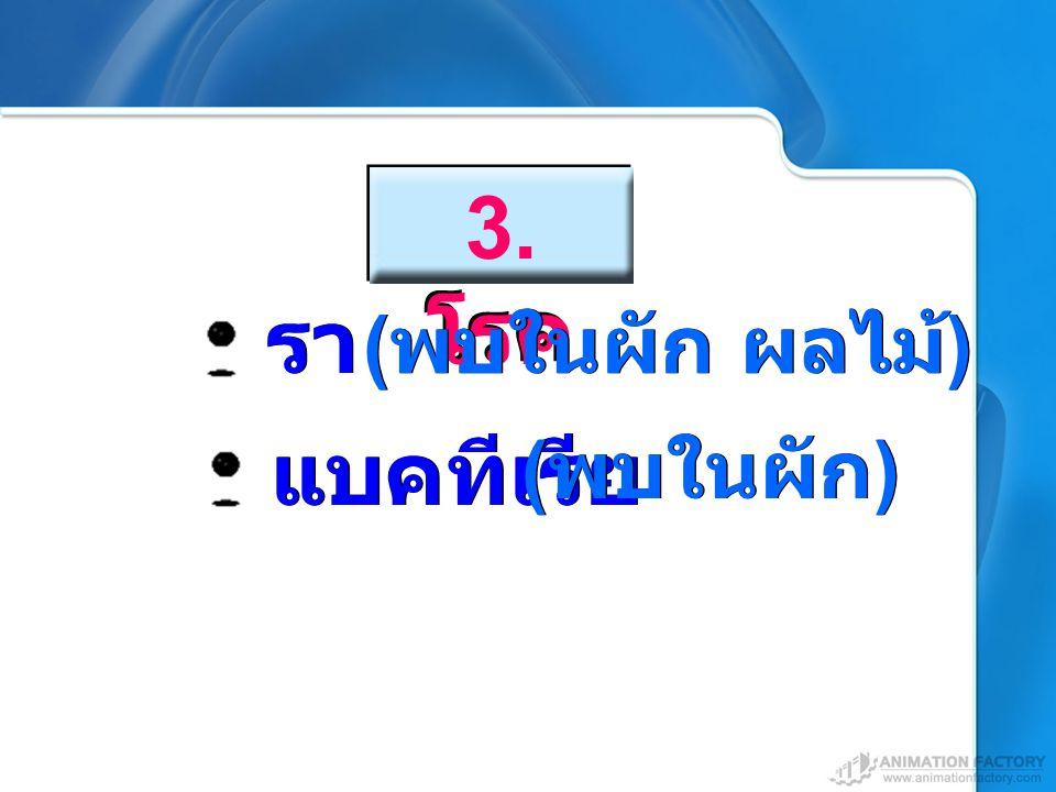 3. โรค รา (พบในผัก ผลไม้) แบคทีเรีย (พบในผัก)