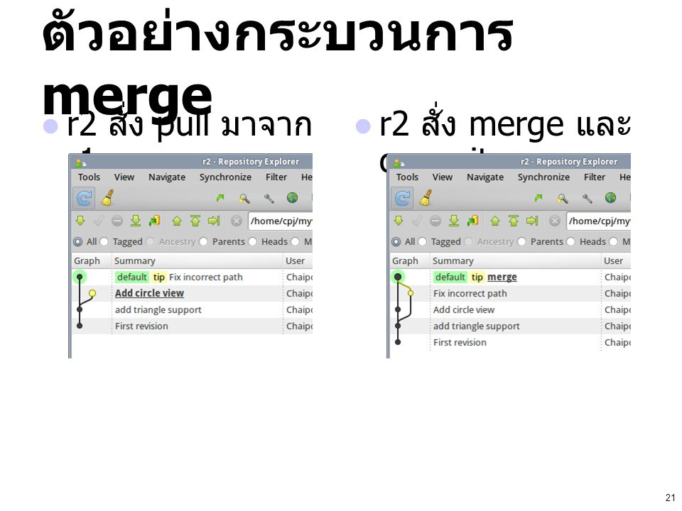ตัวอย่างกระบวนการ merge