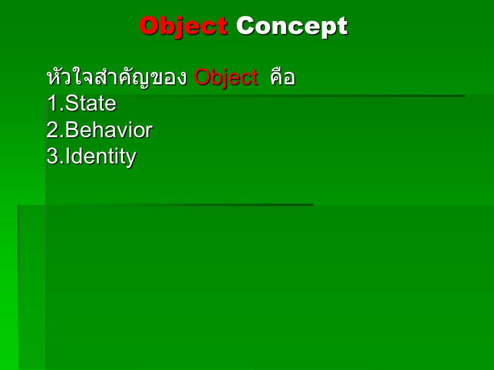 หัวใจสำคัญของ Object คือ 1.State 2.Behavior 3.Identity