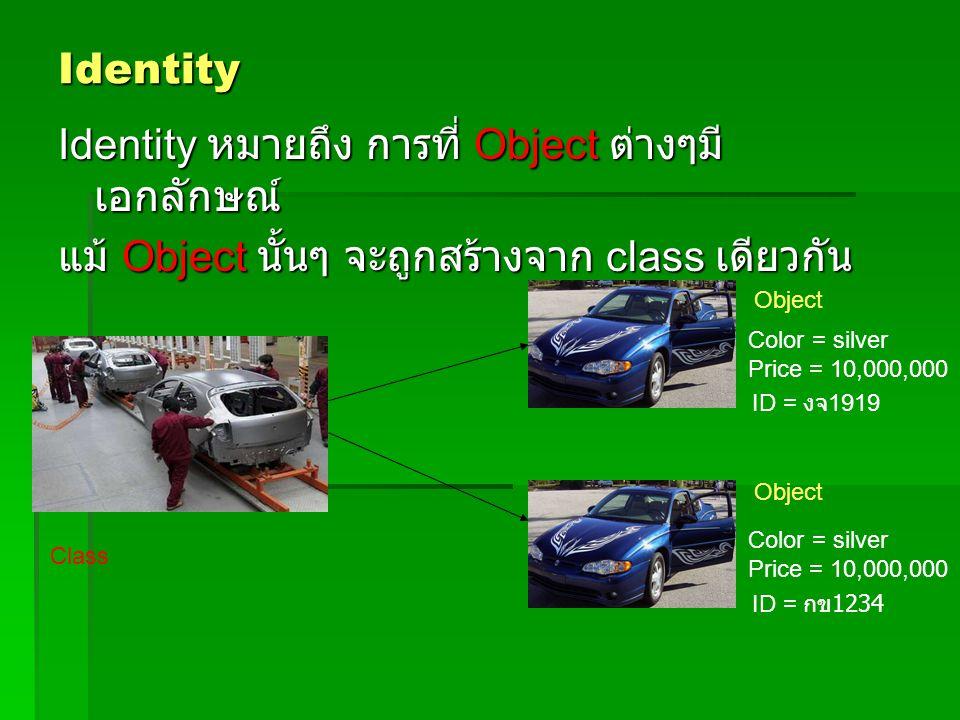 Identity หมายถึง การที่ Object ต่างๆมีเอกลักษณ์