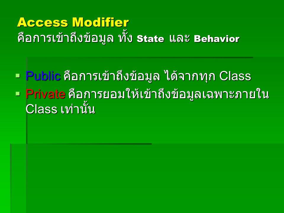 Access Modifier คือการเข้าถึงข้อมูล ทั้ง State และ Behavior