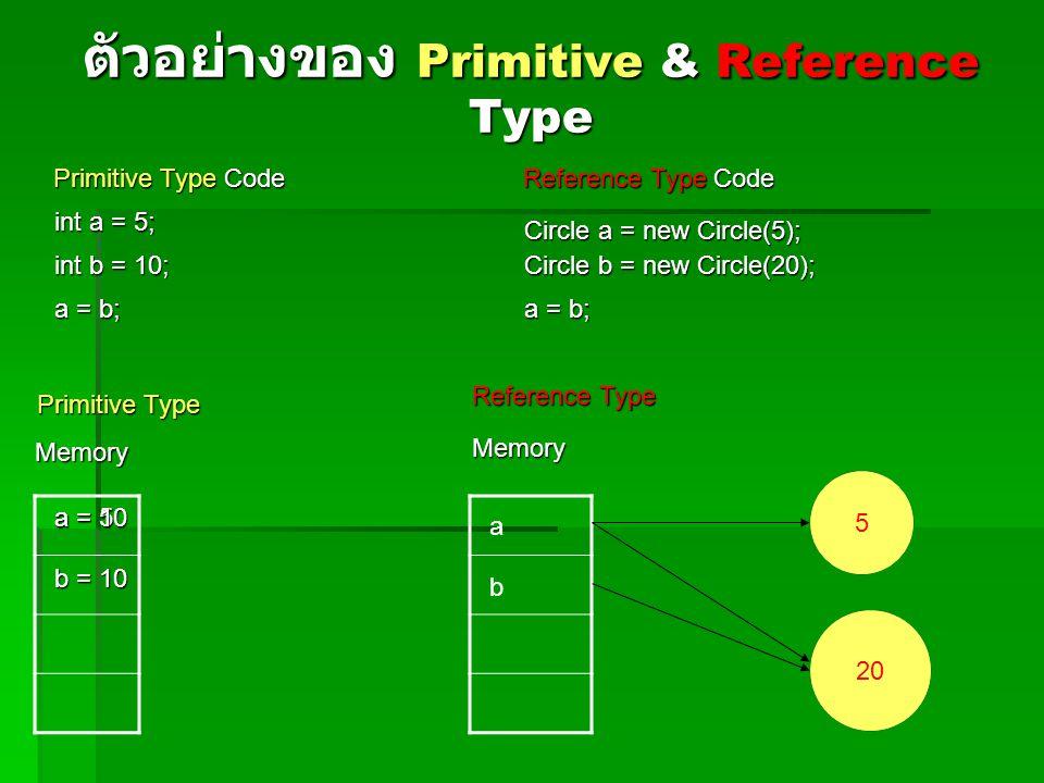 ตัวอย่างของ Primitive & Reference Type