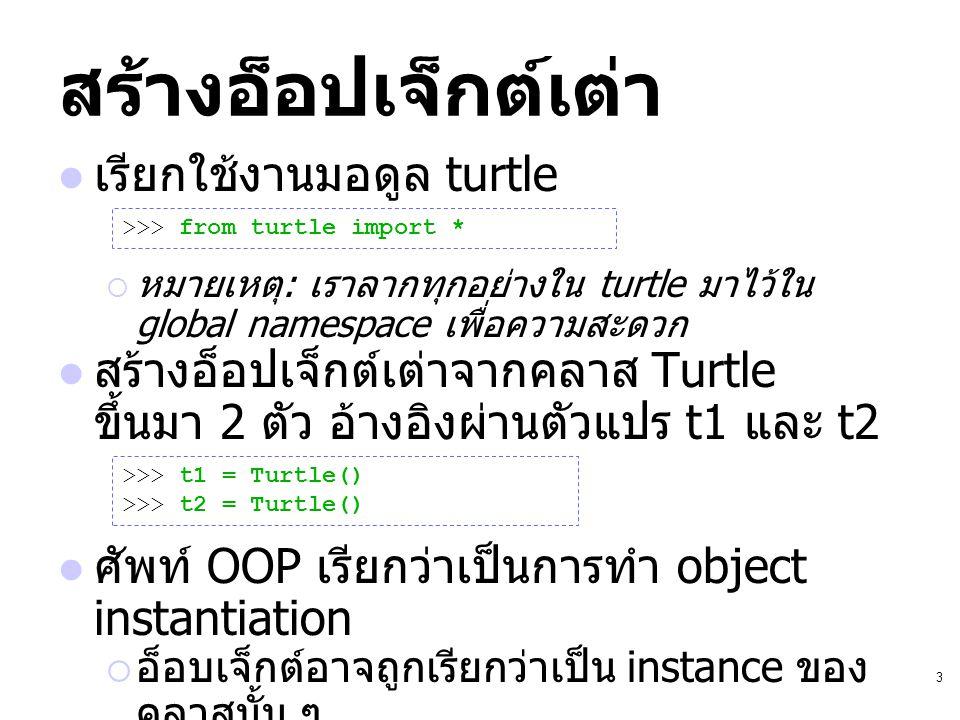 สร้างอ็อปเจ็กต์เต่า เรียกใช้งานมอดูล turtle