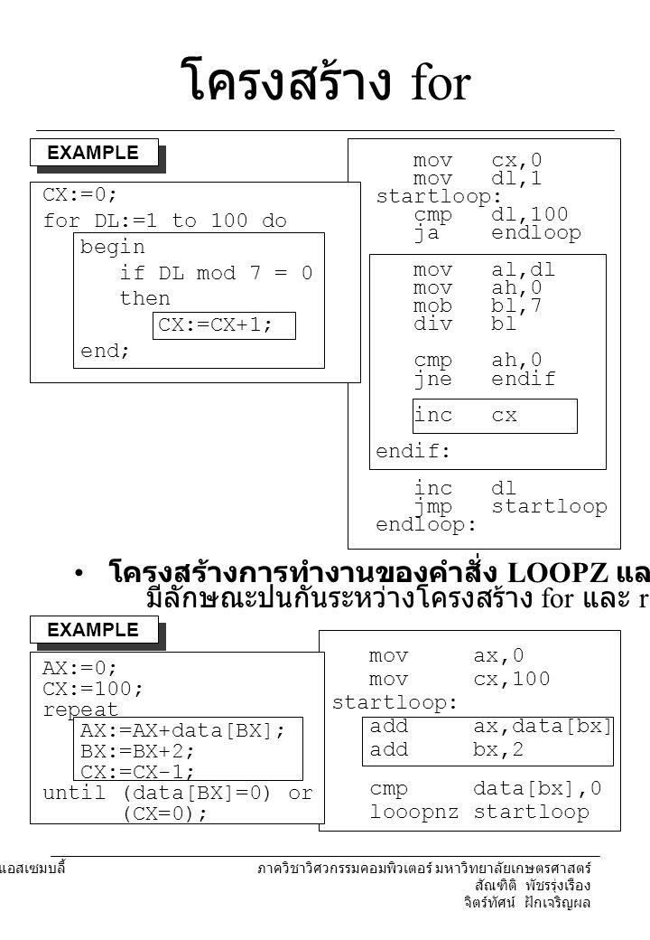 โครงสร้าง for โครงสร้างการทำงานของคำสั่ง LOOPZ และ LOOPNZ