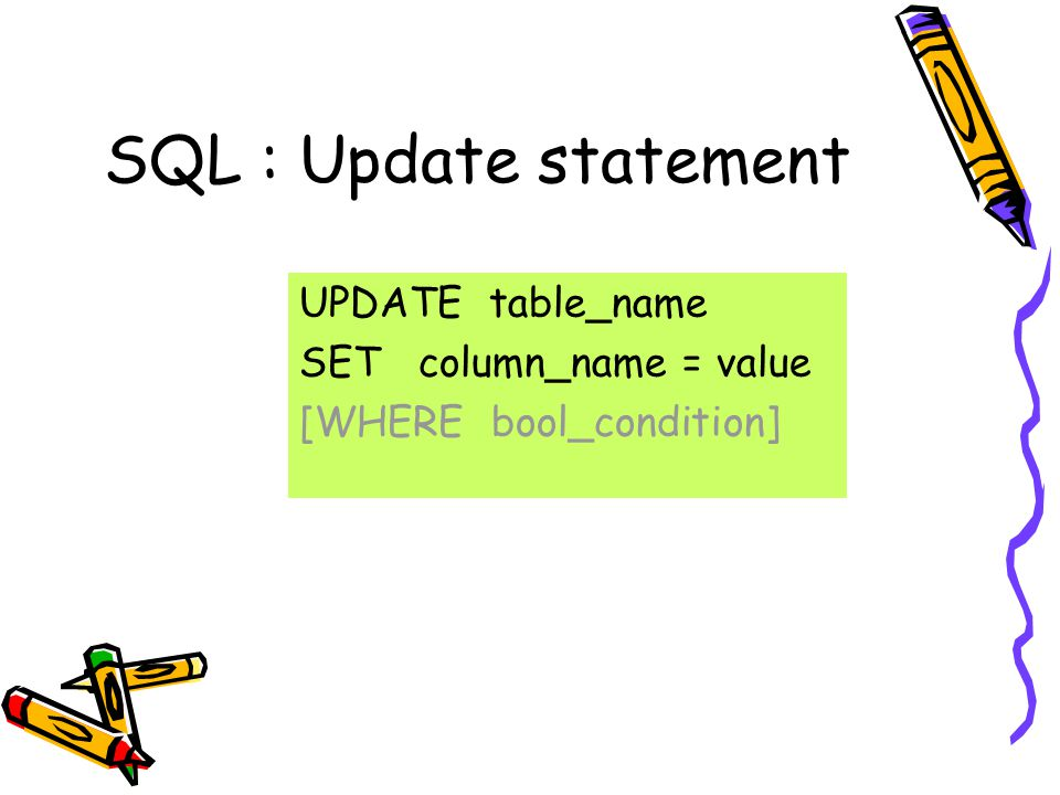 SQL : Update statement UPDATE table_name SET column_name = value