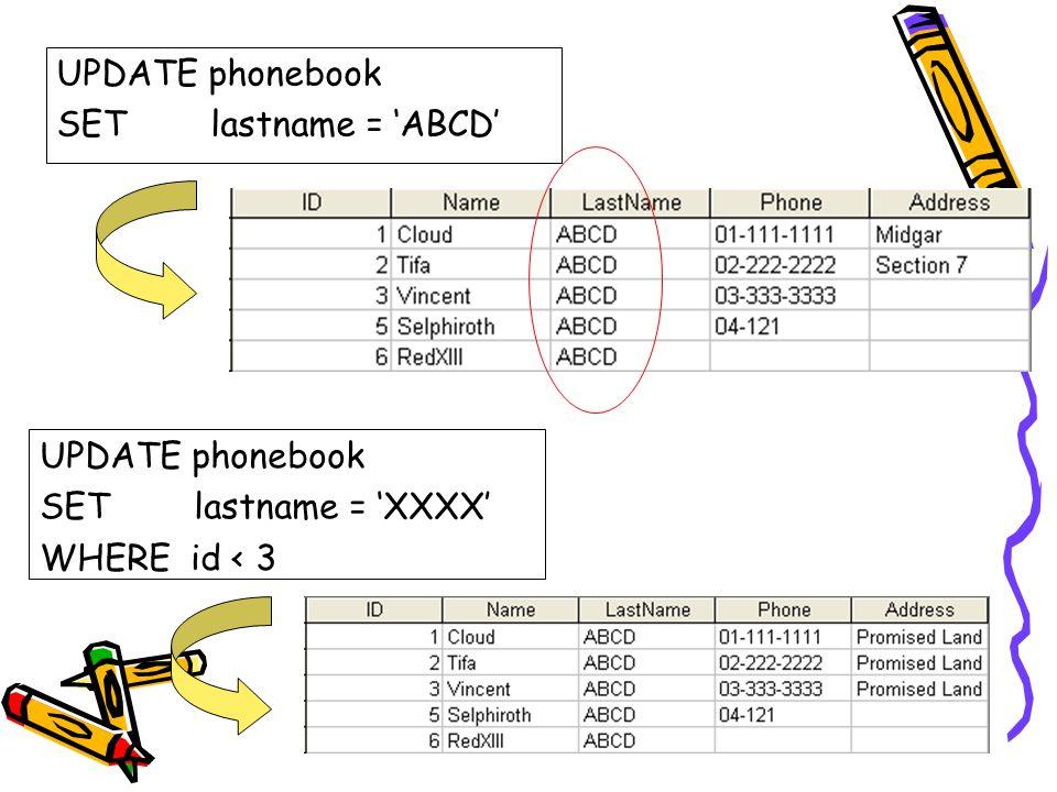 UPDATE phonebook SET lastname = 'ABCD' UPDATE phonebook.