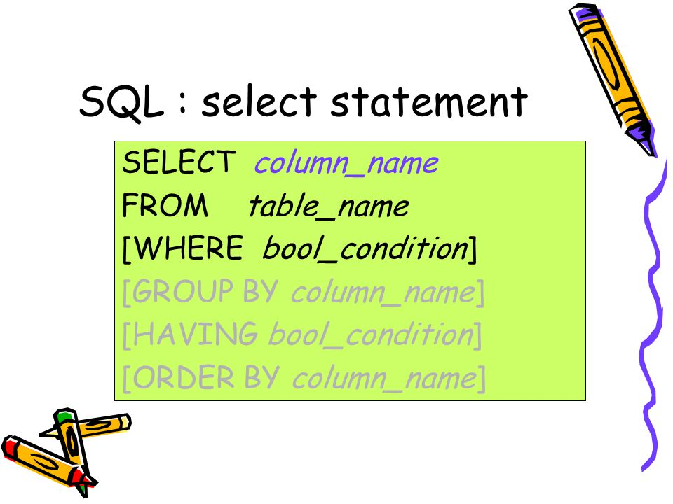 SQL : select statement SELECT column_name FROM table_name