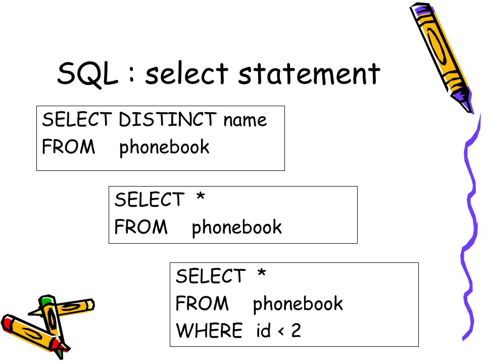 SQL : select statement SELECT DISTINCT name FROM phonebook SELECT *