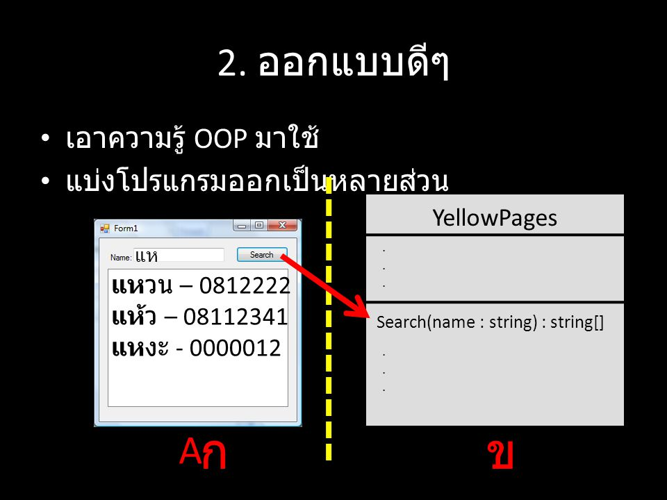 ก ข 2. ออกแบบดีๆ A เอาความรู้ OOP มาใช้ แบ่งโปรแกรมออกเป็นหลายส่วน