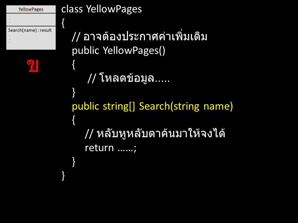 ข class YellowPages { // อาจต้องประกาศค่าเพิ่มเติม