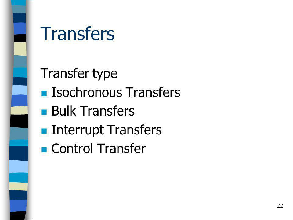 Transfers Transfer type Isochronous Transfers Bulk Transfers