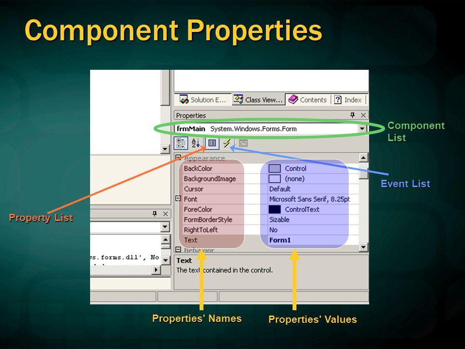 Component Properties Component List Event List Property List