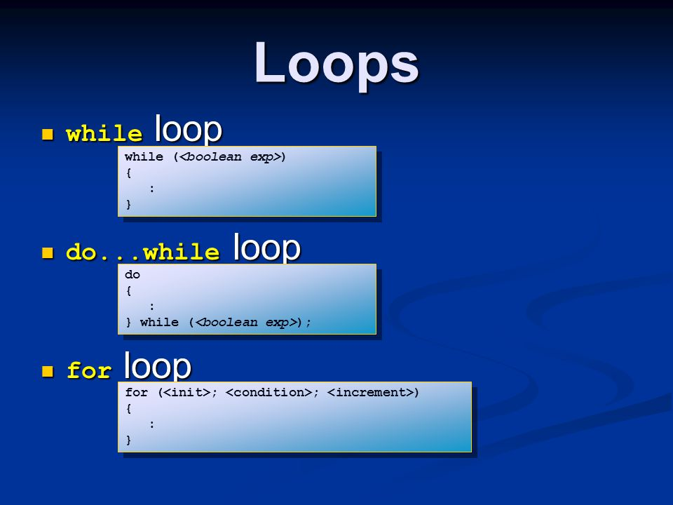 Loops while loop do...while loop for loop while (<boolean exp>)