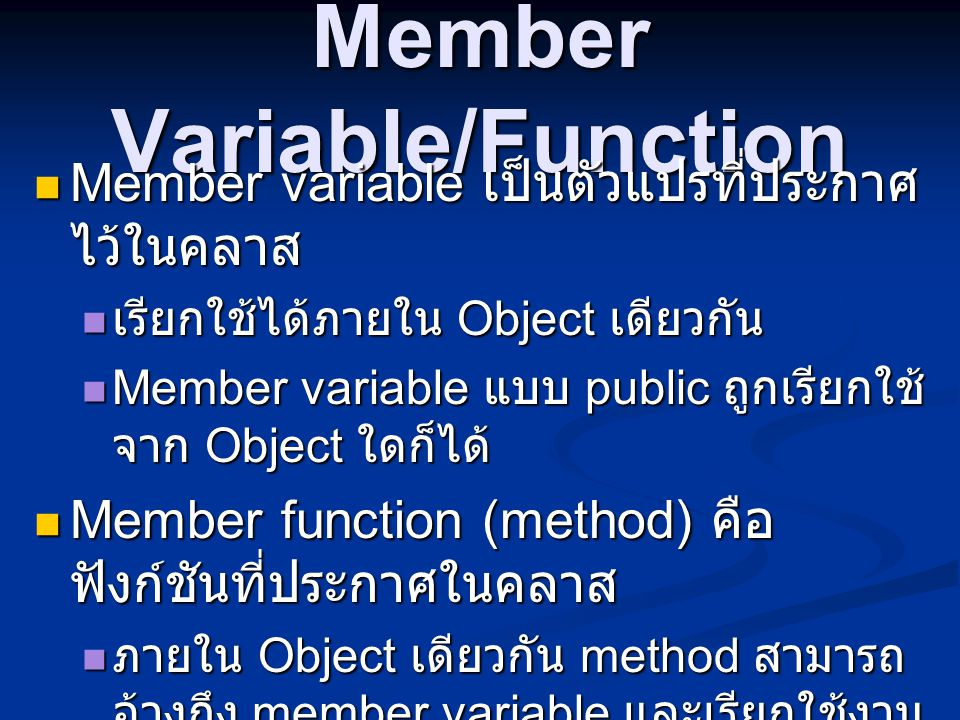 Member Variable/Function