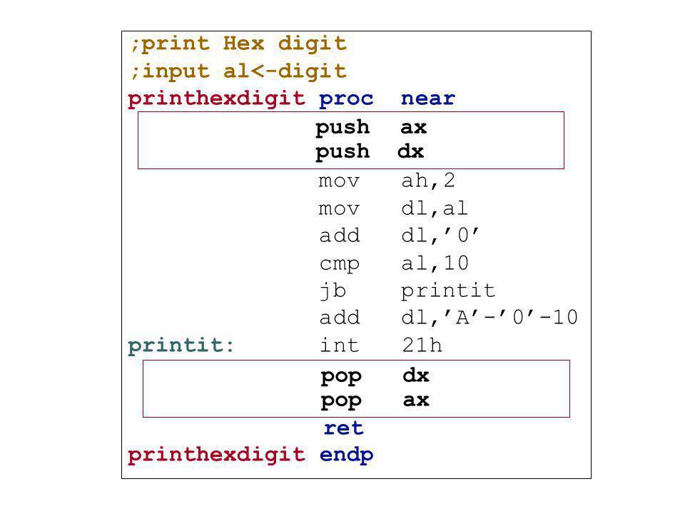 ;print Hex digit ;input al<-digit. printhexdigit proc near. mov ah,2. mov dl,al. add dl,'0'