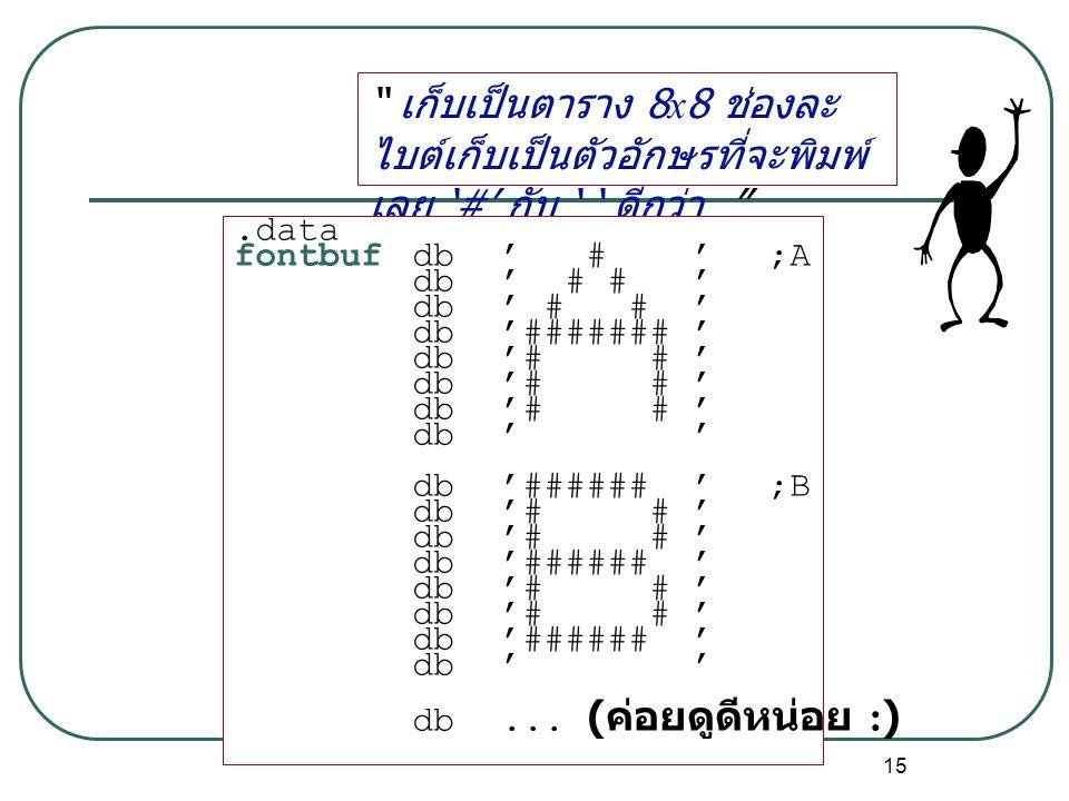 เก็บเป็นตาราง 8x8 ช่องละไบต์เก็บเป็นตัวอักษรที่จะพิมพ์เลย '#' กับ ' ' ดีกว่า