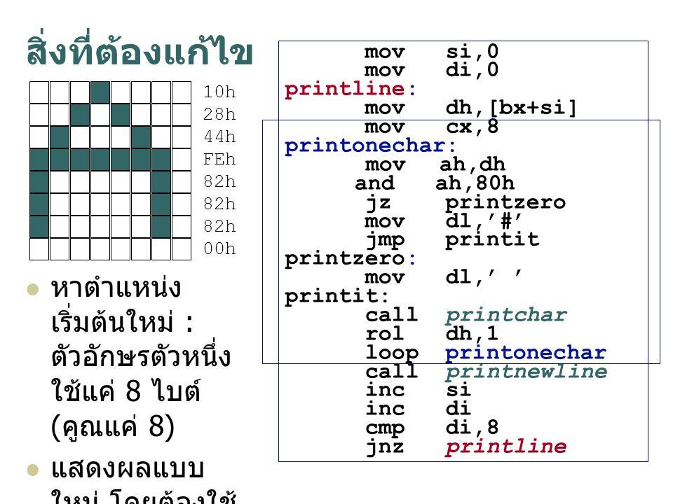 สิ่งที่ต้องแก้ไข หาตำแหน่งเริ่มต้นใหม่ : ตัวอักษรตัวหนึ่งใช้แค่ 8 ไบต์ (คูณแค่ 8) แสดงผลแบบใหม่ โดยต้องใช้การทดสอบระดับบิตเข้ามาช่วย.