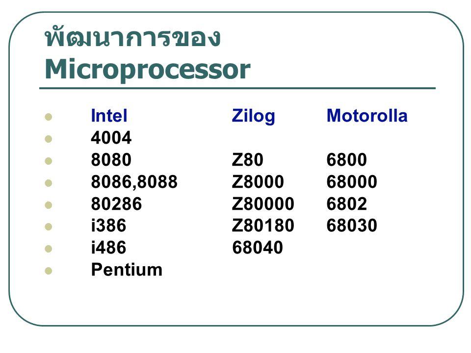 พัฒนาการของ Microprocessor