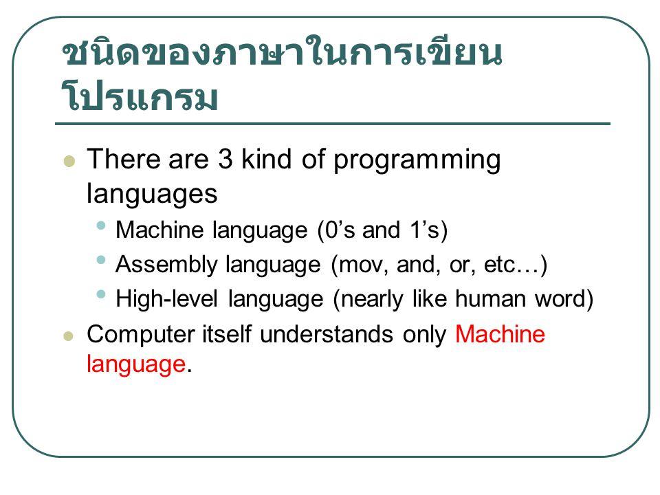 ชนิดของภาษาในการเขียนโปรแกรม