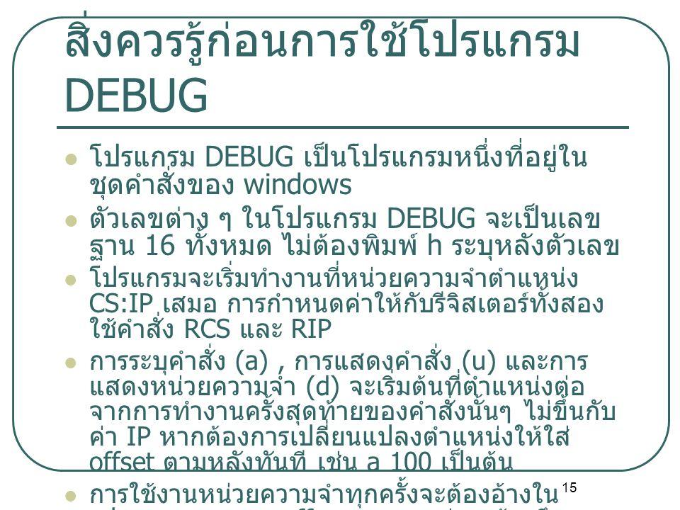 สิ่งควรรู้ก่อนการใช้โปรแกรม DEBUG