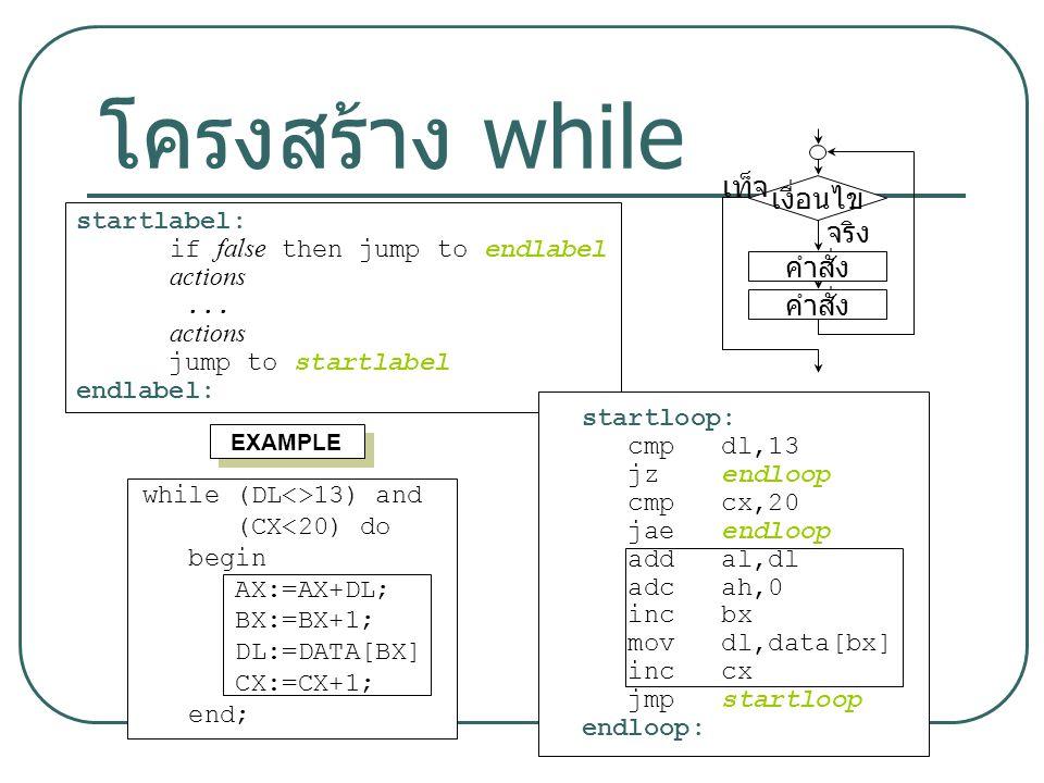 โครงสร้าง while เท็จ เงื่อนไข จริง คำสั่ง startlabel: