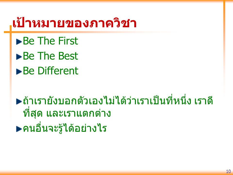 เป้าหมายของภาควิชา Be The First Be The Best Be Different