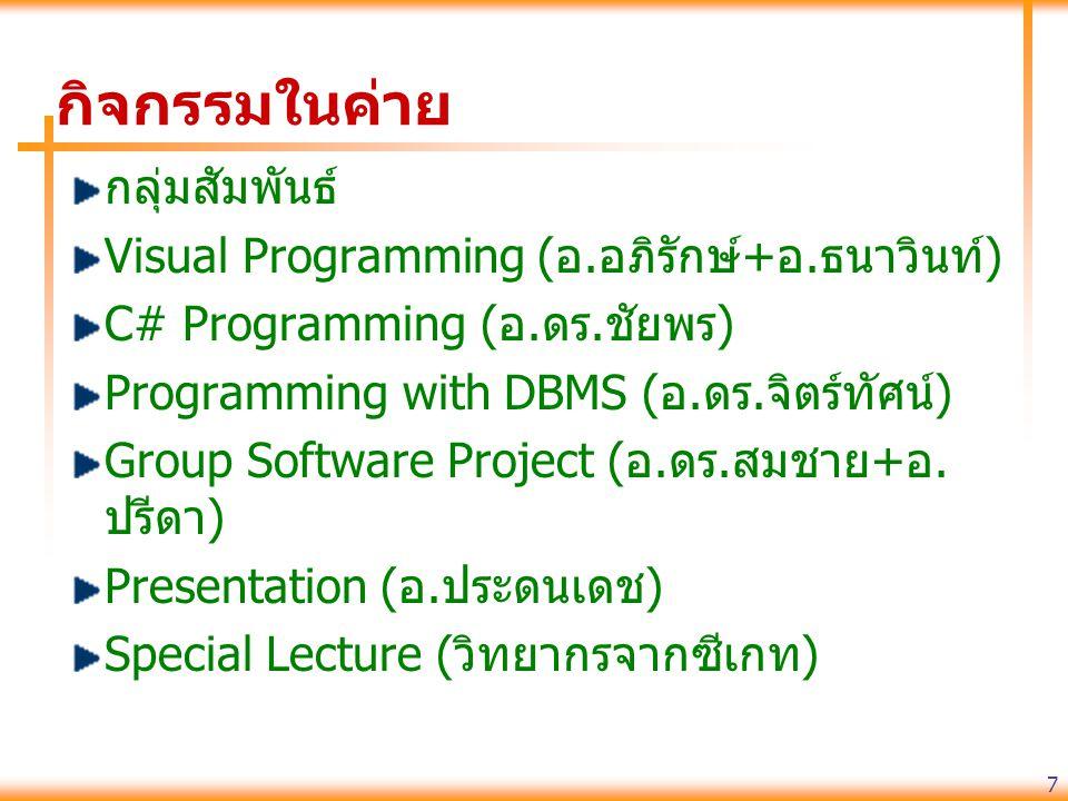 กิจกรรมในค่าย กลุ่มสัมพันธ์ Visual Programming (อ.อภิรักษ์+อ.ธนาวินท์)