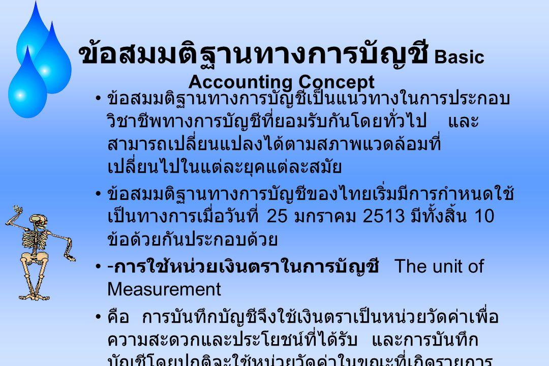 ข้อสมมติฐานทางการบัญชี Basic Accounting Concept