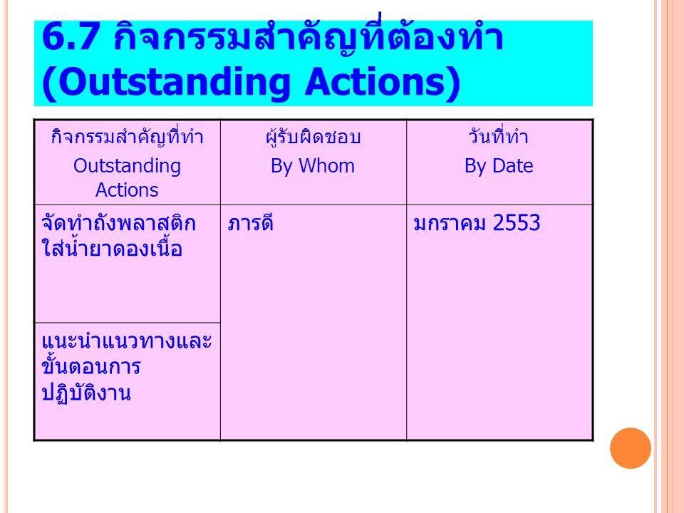 6.7 กิจกรรมสำคัญที่ต้องทำ (Outstanding Actions)