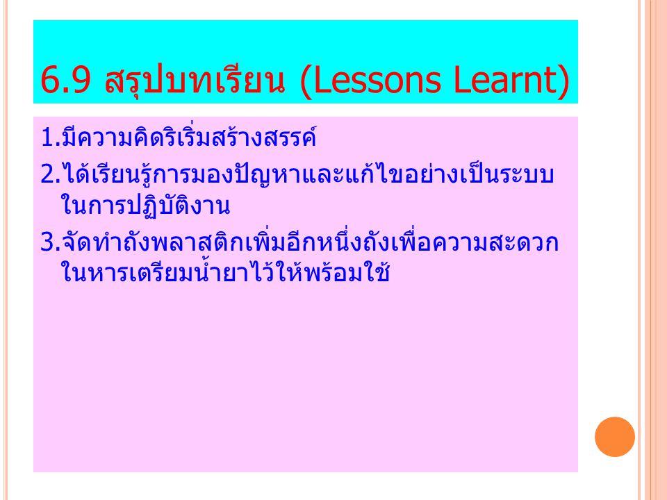 6.9 สรุปบทเรียน (Lessons Learnt)