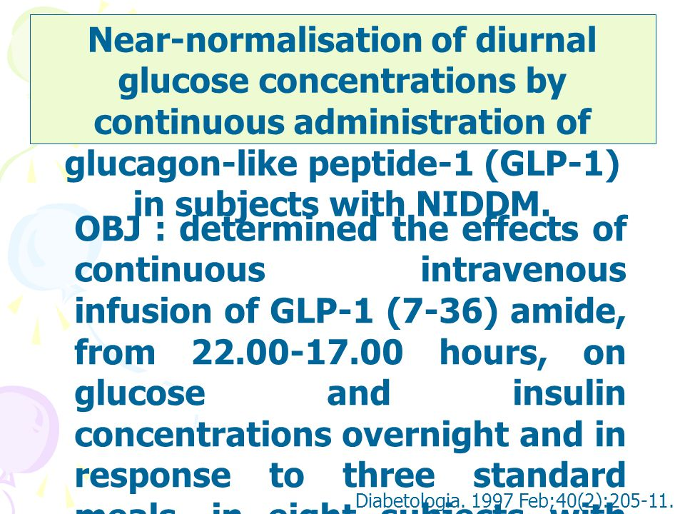 Near-normalisation of diurnal glucose concentrations by continuous administration of glucagon-like peptide-1 (GLP-1) in subjects with NIDDM.