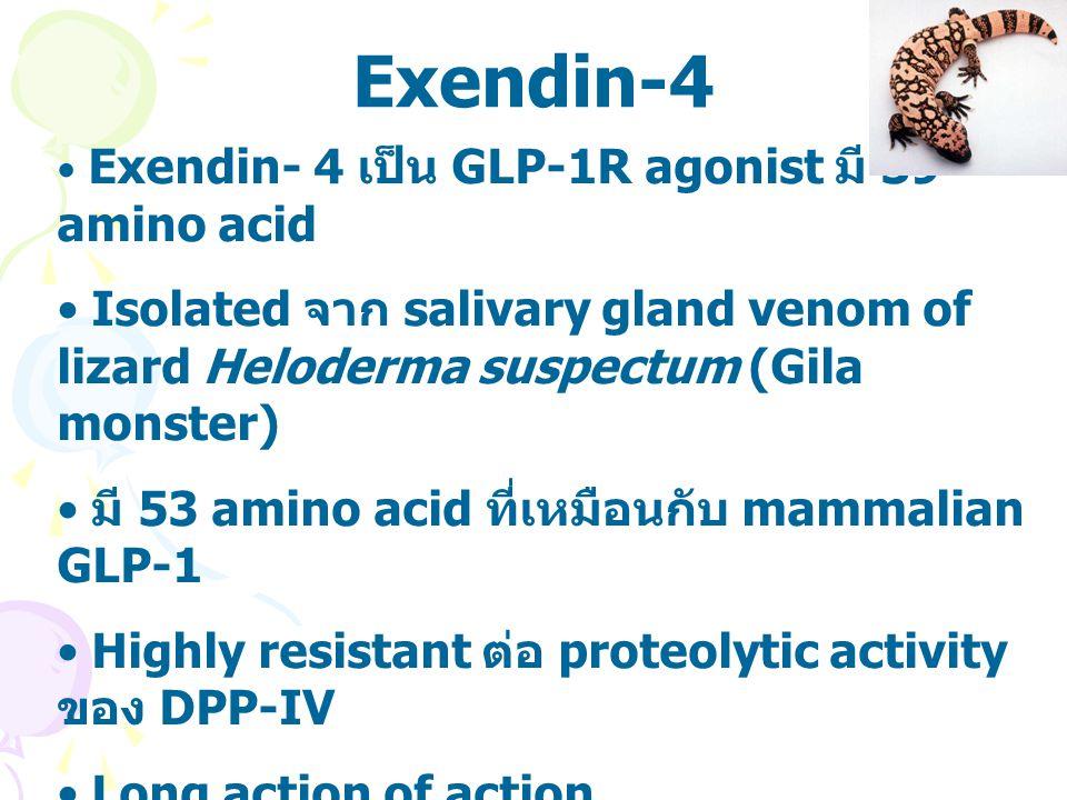 Exendin-4 Exendin- 4 เป็น GLP-1R agonist มี 39 amino acid. Isolated จาก salivary gland venom of lizard Heloderma suspectum (Gila monster)