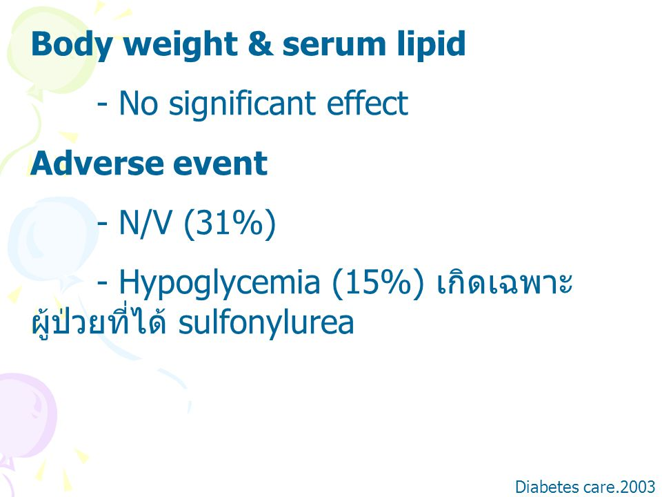 Body weight & serum lipid - No significant effect Adverse event