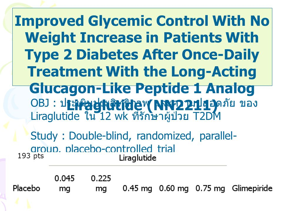 Improved Glycemic Control With No Weight Increase in Patients With Type 2 Diabetes After Once-Daily Treatment With the Long-Acting Glucagon-Like Peptide 1 Analog Liraglutide (NN2211)